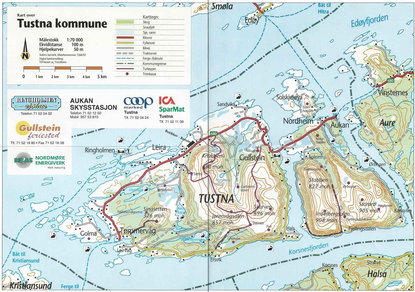kart over tustna Tustna idrettslag | Turløyper kart over tustna